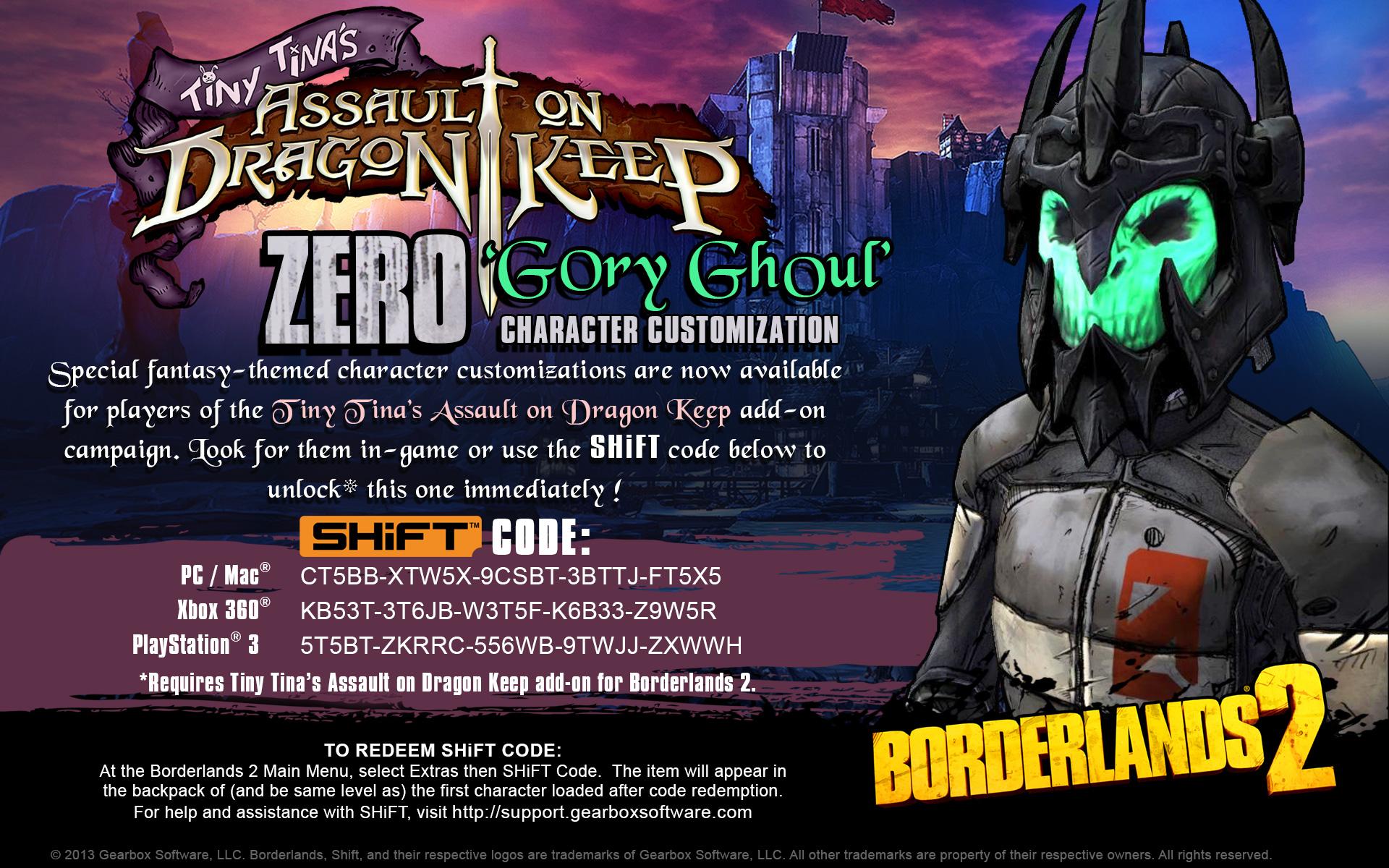 borderlands 2 u0027dragon keep heads u0027 shift codes u2013 gearbox software