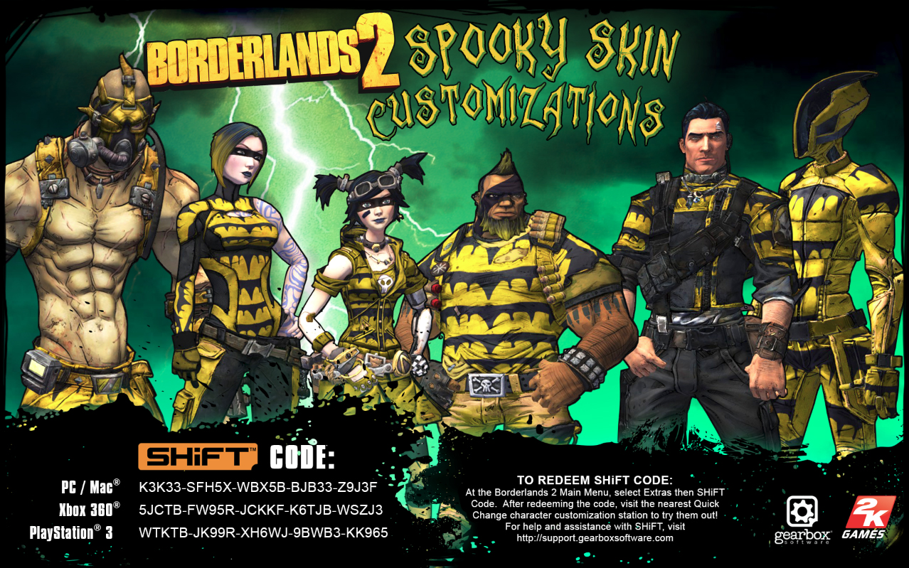 Borderlands 2 Spooky Character Skins Gearbox Software