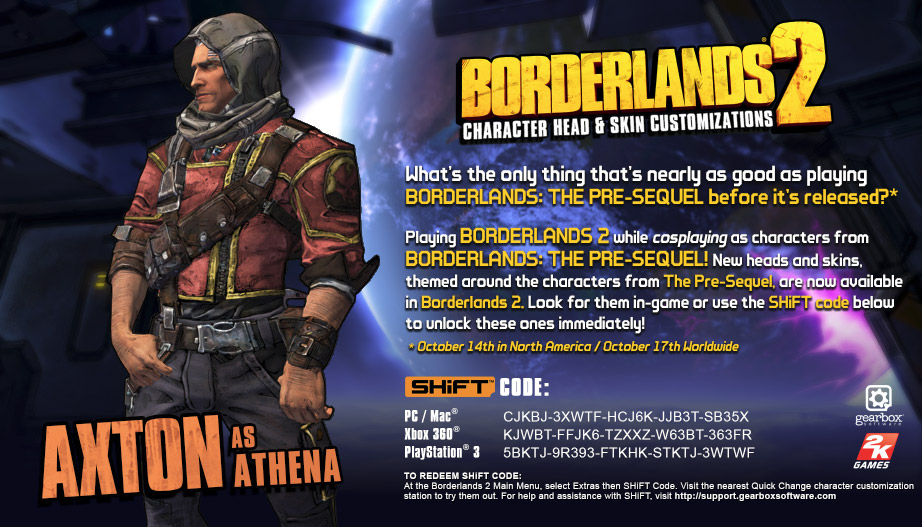 Borderlands 2 Pre-Sequel Inspired Heads and Skins SHiFT