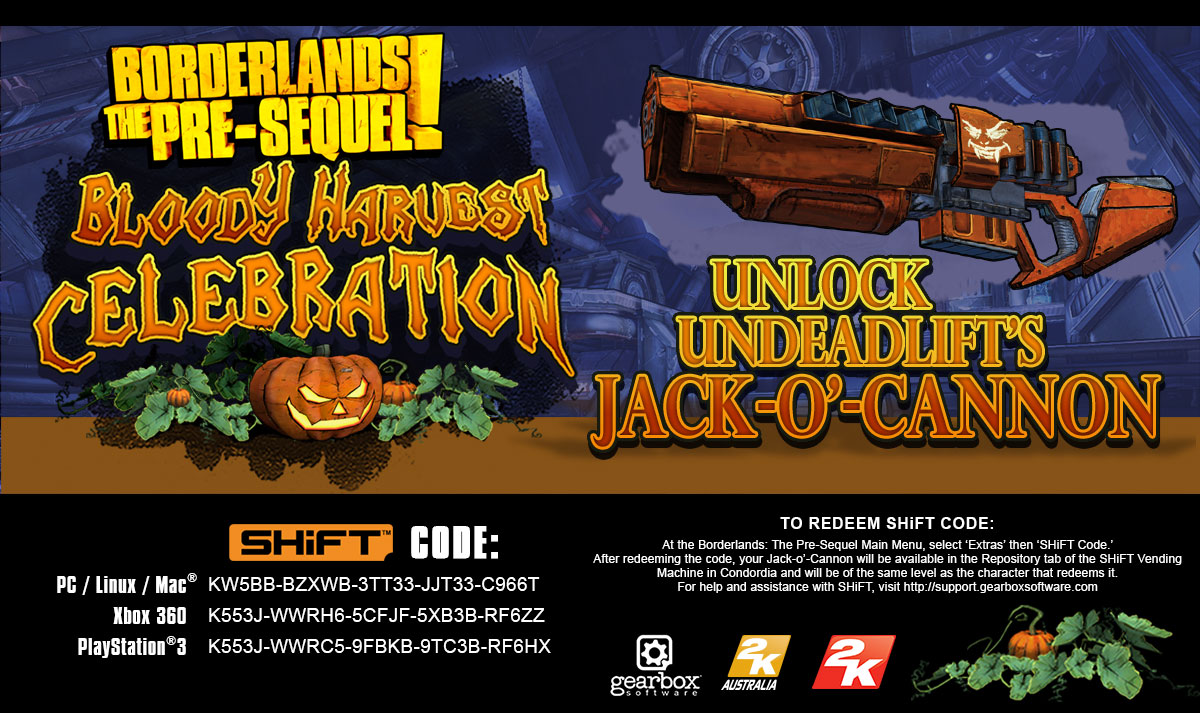 Unlock a Jack-o'-Cannon in Borderlands: The Pre-Sequel ... Borderlands The Pre Sequel Shift Codes