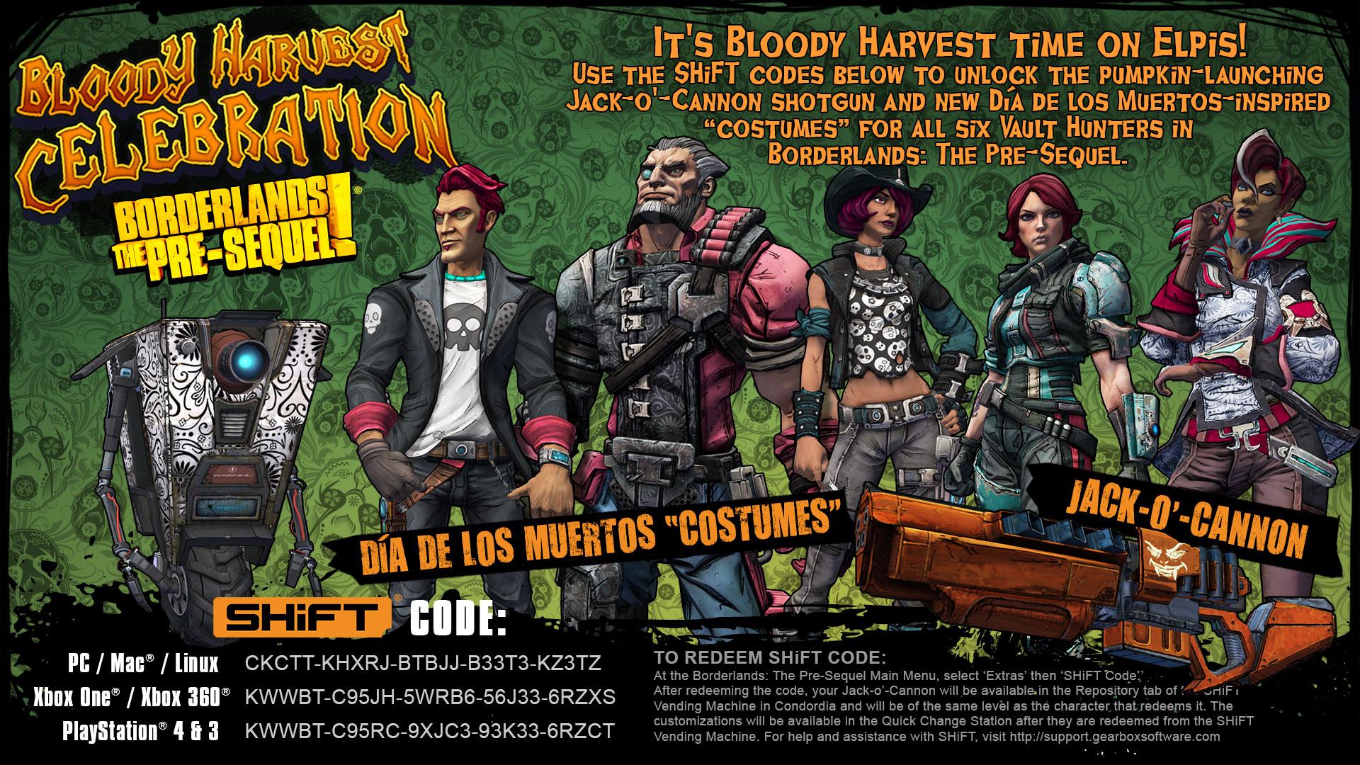 Borderlands: The Pre-Sequel Bloody Harvest SHiFT Codes
